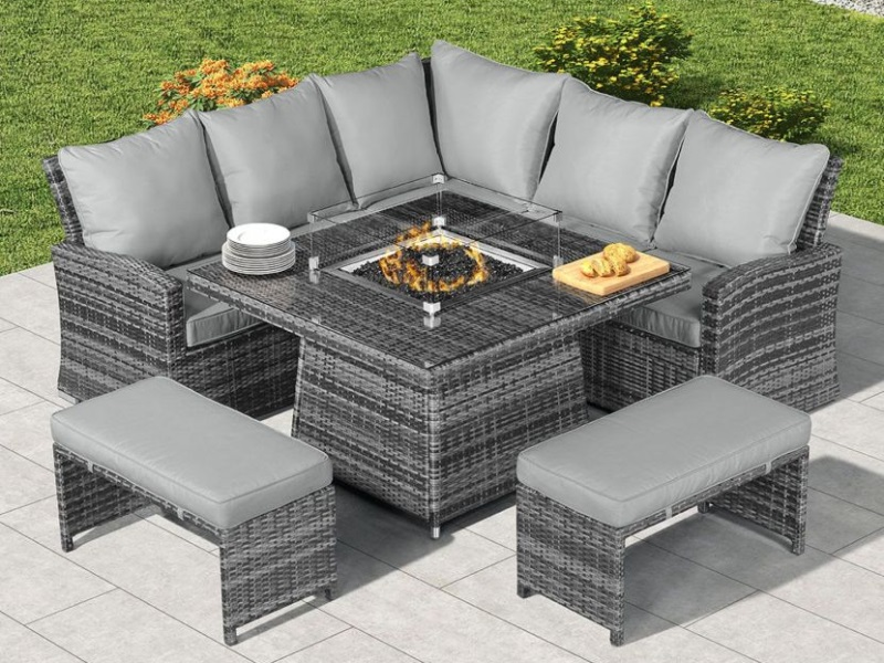 With Fire Pit Table, Grey Rattan Garden Furniture With Fire Pit Table