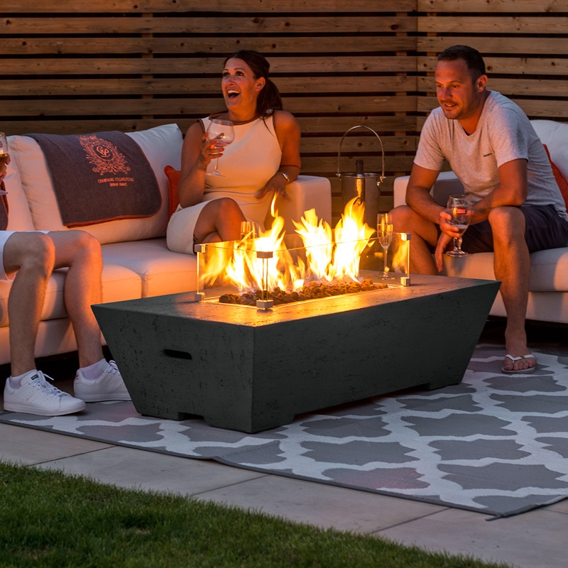 Nova Outdoor Living Gladstone Rectangular Gas Fire Pit - Dark Grey 2\' 6 Small Single Firepit & Fire bowl Image0 Image