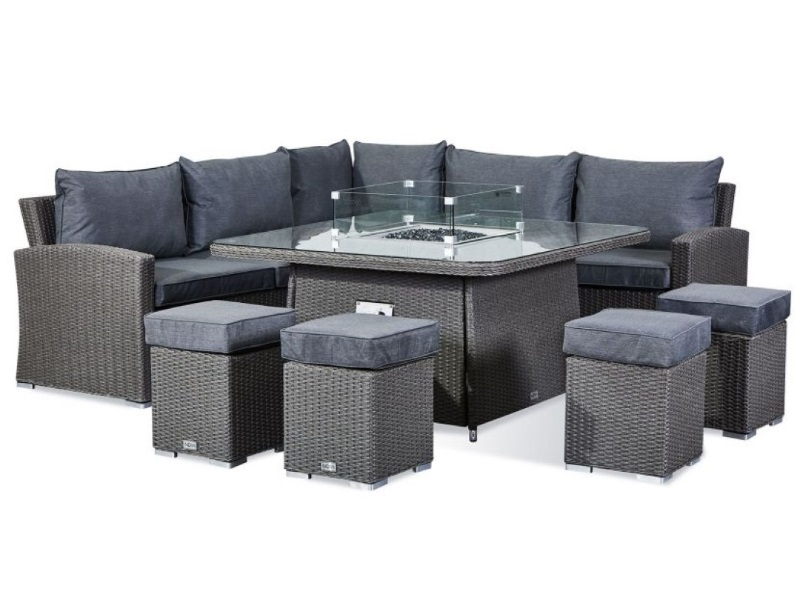 Firepit Table Corner Sofa Set At Gardenman, Grey Rattan Garden Furniture With Fire Pit Table