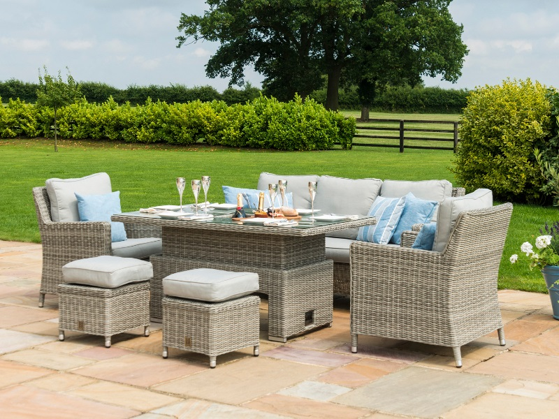Oxford Sofa Dining Set with Ice Bucket and Rising Table Image0 Image